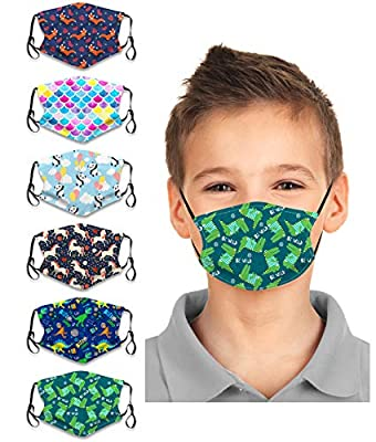 6Pcs Kids 2021 New Years Face Bandanas Cartoon reusable Protection for Children