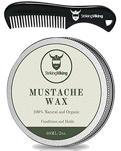 Mustache Wax and Comb Kit - Strong Hold Moustache and Beard Wax for Men Tames, Styles, and Conditions Facial Hair - Made with Natural Beeswax with Vanilla Scent (2 oz.) by Striking Viking