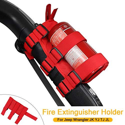 Universal Feuerlöscher Halter Verstellbarer Überrollbügel Feuerlöscher Verstellbarer für Wrangler JK YJ TJ JL (Rot)