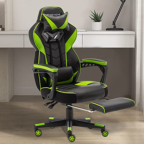 Bonzy Home Gaming Chair Computer Office Chair Ergonomic Desk Chair with Footrest Racing Executive Swivel Chair Adjustable Rolling Task Chair(Bright Green)