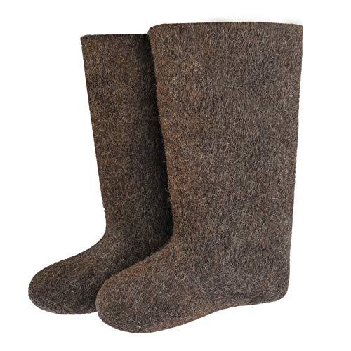 Valenki Russische traditionelle Winterstiefel aus 100% Wolle, Braun (Grau, Braun), 49 EU