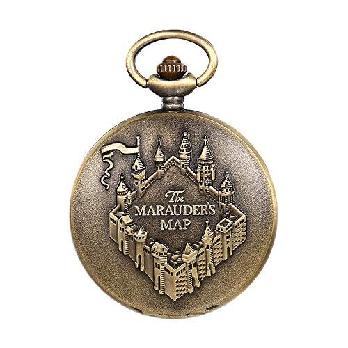 JewelryWe Taschenuhr Herren Analog Quarz Vintage Altes Schloss Burg Uhr Pocket Watch mit Halskette Kette