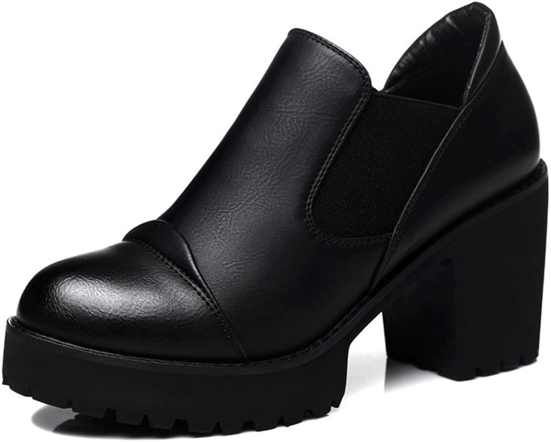 U-MAC Women's Heel Pumps Round Toe Platform shoes Slip on Chunky Bootie