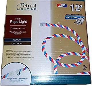 Patriotic Red White and Blue Indoor Outdoor Rope Light - 12 Feet (Pqck of 2)