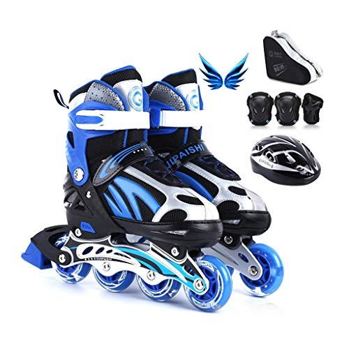 Verstellbare Inline Skates, High-elastische abriebfeste PU-Rad, bequemer Breathable Skates, Geeignet for Kinder und Erwachsene (Farbe: Blau, Größe: M 34-38) dongdong ( Color : Blue , Size : M 3438 )