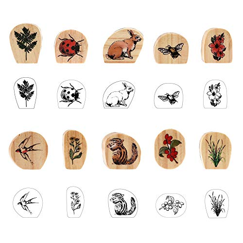 Dizdkizd Wooden Rubber Stamp Set, 10pcs Animal & Plant Decorative Mounted Rubber Stamps, Natural Design Wooden Seal for DIY Craft, Arts Scrapbooking, Bullet Journal Planners