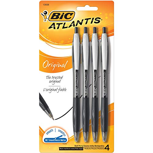 BIC Atlantis Original Retractable Ball Pen, Medium Point (1.0mm), Black, 4-Count