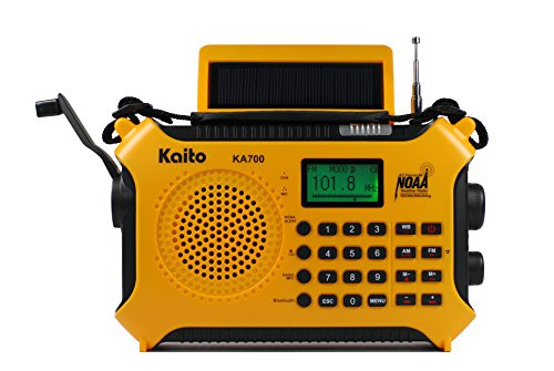 Kaito KA700 Bluetooth Emergency Hand Crank Dynamo & Solar Powered AM FM Weather Band Radio with Recorder and MP3 Player - Rugged Design for Hiking, Camping, Construction Sites, Etc.(Yellow)