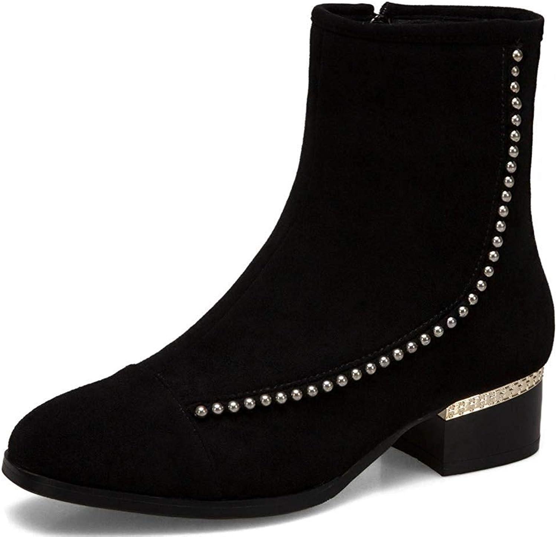 Ghssheh Women's Stylish Square Toe Low Block Heels Side Zipper Faux Suede Short Boots Brown 4 M US