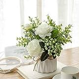 NAWEIDA - Flores artificiales con florero de cerámica pequeño con rosas de seda, plantas falsas de eucalipto, hojas de bayas, arreglos de flores para el hogar (blanco)
