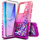 E-Began Phone Case for Samsung Galaxy S20, Galaxy S20 5G with Screen Protector (Soft 3D Curved), Sparkle Glitter Flowing Liquid w/Bling Diamond, Durable Girls Women Cute Case (6.2' 2020) -Pink/Purple