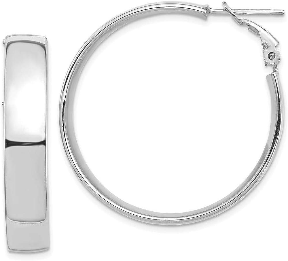 14k White Gold High Polished Branded goods 7mm Earrings Hoop Back Max 62% OFF 35.77m Omega