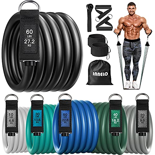 Resistance Bands Set 14 pcs, INNELO Workout Bands with Wide Handles, Exercise Bands Set, Fitness Bands with Door Anchor…