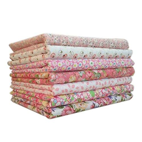 Topker 7pcs / set Tissu en coton pour la couture Quilting Patchwork Home Textile Série rose Tilda Doll Body Cloth (rose,25 * 25cm)