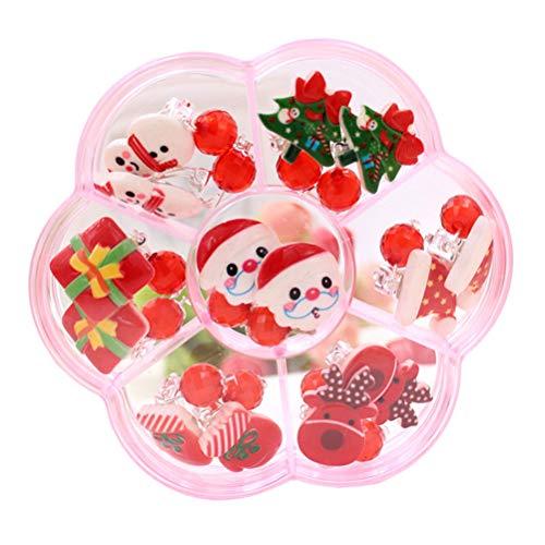 Toyvian 7 PZ Orecchini Bambina Clip di Natale Regali Senza Buco per Ragazza