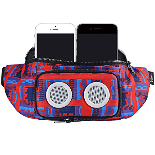 Fanny Pack with Bluetooth Speaker, Durable Bluetooth Speaker Fannypack with 8W Louder Sound, 10H Playtime Waist Bag for Parties, Beach, Festival Works with iPhone Xs MAX, XR, 8 Plus, Android