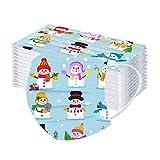 LULUZ 50 Stück Kinder Einmal-Mundschutz für Weihnachten Bandana Waschbar Baumwolle Atmungsaktiv Multifunktionstuch Mund-Nasen Bedeckung Schals für Jungen und Mädchen