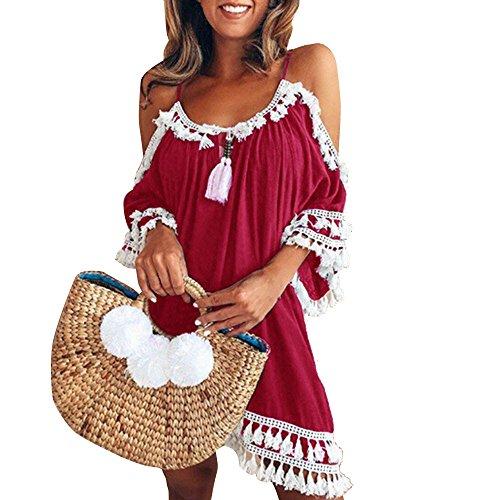 Tosonse Sexy Schulterfrei Minikleider Für Frauen Sommer Beach Party Streifenkleid Mit Quastensaum