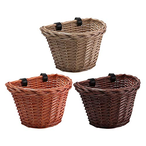 Mytobang Bicycle wicker basket, traditional wicker bicycle front basket, bicycle wicker basket with leather strap, suitable for all kinds of bicycles(Brown)