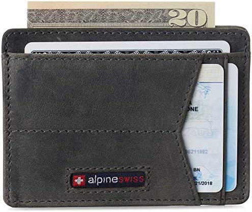 Alpine Swiss Oliver Mens RFID Blocking Minimalist Front Pocket Wallet Leather Comes in a Gift product image