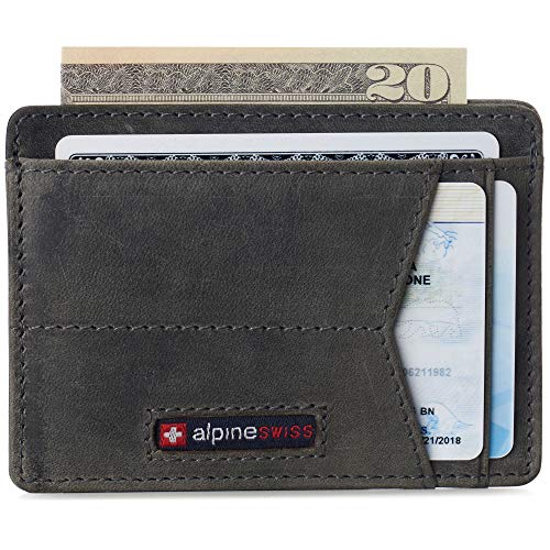 Alpine Swiss Oliver Mens RFID Blocking Minimalist Front Pocket Wallet Leather Comes in a Gift Box Gray