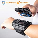 Wristband Phone Holder for iPhone XR/11/X/8 Plus/8/7/6 Plus/iPod Touch, Detachable Sports Wristband for Androids, Samsung Galaxy, all 4''-6.5''Phones, 360°Rotatable with Key Holder