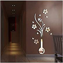 Alrens(TM)Luxury Vase Plum Flowers Pattern 3D Mirror Wall Stickers Living Room Entrance Bedroom TV Wall Decals Marriage Room Decorated Dining Room Décor Home Decoration Removable