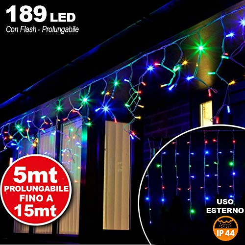 Bakaji Lighting Tenda Cascata Luminosa 510 x 90 cm Prolungabile Fino a 15 MT 189 LED con FLASH, Luci per Esterno Catena Natalizia IP44 (Multicolor)