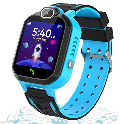 Smartwatch para Niños Llamada Bidireccional Reloj Inteligente Teléfono con Juegos de Rompecabezas Cámara del Reproductor de Música Alarma SOS para 4-12 Boy Girl Regalo de Cumpleaños Festival (Azul)