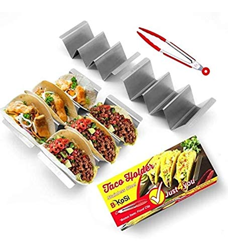 B-KoSi Taco Holders Set of 4 - Taco Shell Holder Stainless Steel Set of 4 – Taco Holder Stands for 3 Tacos - Taco Tray for Halloween & Christmas with Free Stainless Steel Food Clip - 8'x4'x2'