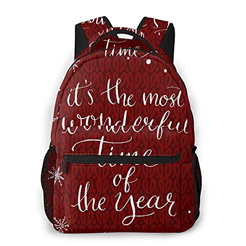 Mochila Multi leisure backpack,Christmas Concept Its The Most Wonderful Time, travel sports School bag for adult youth College Students