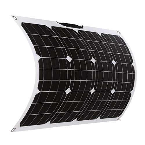 SARONIC Pannello Solare Mono Flessibile da ETFE 50W 18V con MC4 per Barca, Tenda, Camper, Auto, Rimorchio o Qualsiasi Altra Superficie Irregolare