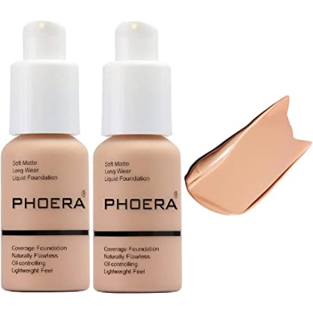 2Pack PHOERA Foundation ,Full Coverage Foundation, Concealer Foundation Full Coverage Flawless New 30ml PHOERA 24HR Matte Oil Control Concealer (103 Warm peach)