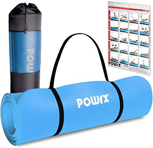 POWRX Gymnastikmatte Premium inkl. Trageband + Tasche + Übungsposter GRATIS I Hautfreundliche Fitnessmatte Phthalatfrei 190 x 60, 80 oder 100 x 1.5 cm I versch. Farben Yogamatte (Blau, 190 x 100 x 1.5 cm)