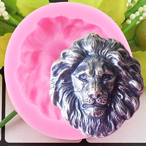 LNOFG 3D Lion Head Silicone Mold Chocolate Fudge Mold Animal Diy Baking Party Cake Decoration Tool Polymer Clay Candy Mold