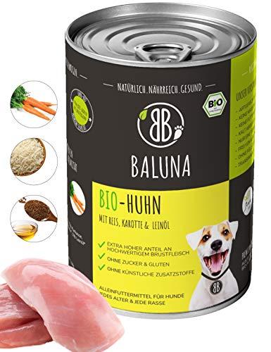 Baluna Bio Hundefutter | Von Bio-Höfen aus der Region | Hergestellt in DE | Hoher Fleischanteil (Bio-Huhn, 6x400g)