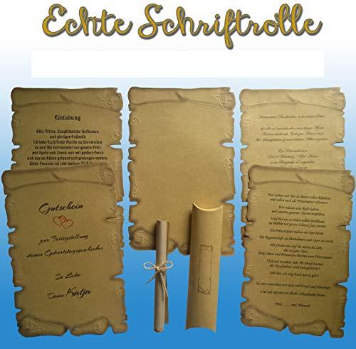 10 Schriftrollen + 10 Kissenschachtel, Mittelalter Pergamentpapier, Für Urkunden, Gutschein, Einladung Hochzeitskarten, Geburtstag