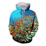 BRILIGHTEN Unterwasserwelt 3D Gedruckt Langarm Hoodies Leichte Sweatshirt Casual Herbst Kapuzenpullover Atmungsaktiv Jogging Pullover,2XL