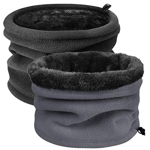 Heekpek Scaldacollo In Pile Funzioni Multiple Beanie Mask Cervicale Warmies Antivento Invernale Bici Moto Ciclismo Snowboard Sci Running Thermico Neck Warmer (Nero+Grigio)