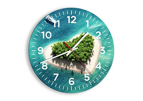 Horloge Murale - Ronde - Horloge en Verre - Pendule murales - 30x30cm - 3129 - Mécanisme d'écoulement - Silencieux - prete a Suspendre - Moderne - Décoration - Pret a accrocher - C4AR30x30-3129