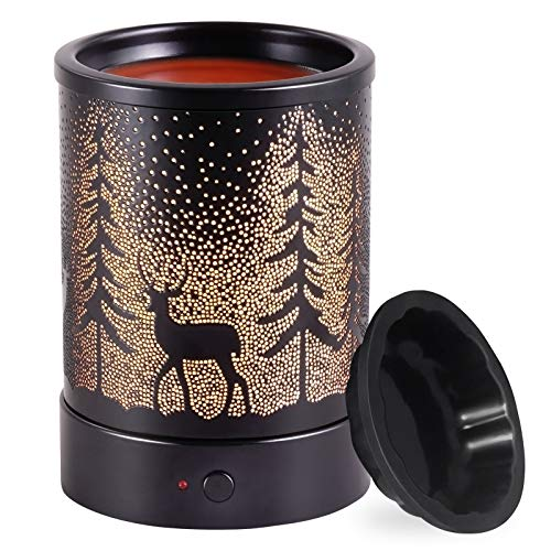Wax-Melt Candle-Warmer Electric Scented Fragrance-Burner - Wax Melter Essential Oil Heater for Spa Yoga Gym Office Home Decor (Black)