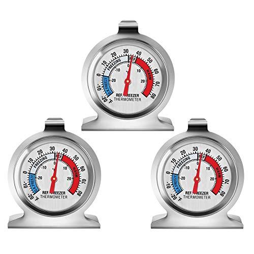 EEEKit Termómetro para refrigerador, Serie clásica Termómetro de congelador de dial Grande Termómetro de Temperatura para refrigerador Refrigerador Congelador Refrigerador (Paquete de 3)