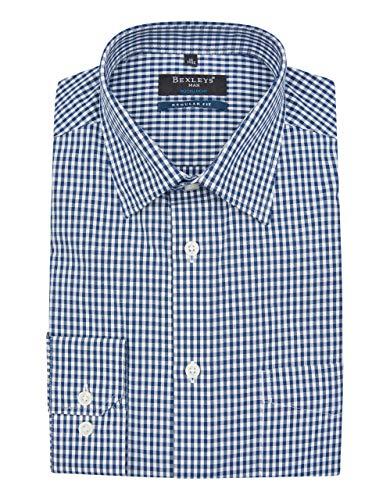 Bexleys man by Adler Mode Dresshemd im klassischen Vichy-Karo, Regular FIT Blau/Weiß 45/46