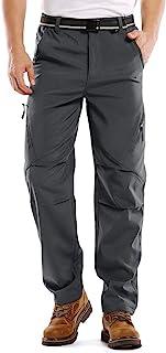 Mens Waterproof Ski Snow Pants, Windproof Fleece Lined Warm Hiking Elastic Waist Softshell Winter Bottoms #6070-Grey,42