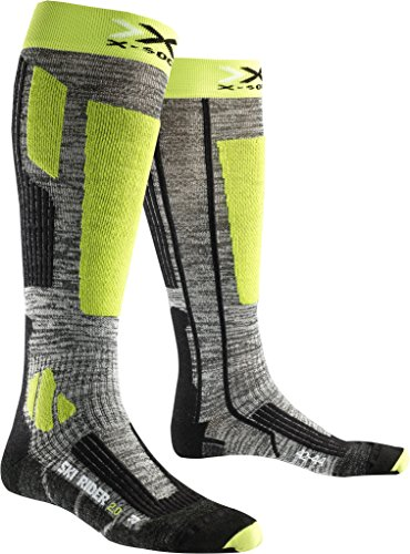 X-SOCKS Rider 2.0 Chaussettes de Ski Homme, Grey Melange/Green Lime, FR : S (Taille Fabricant : 35-38)