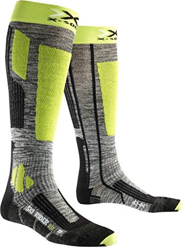 X-Socks Ski Rider 2.0, Calze Uomo, Grigio/Verde Lime, 39/41