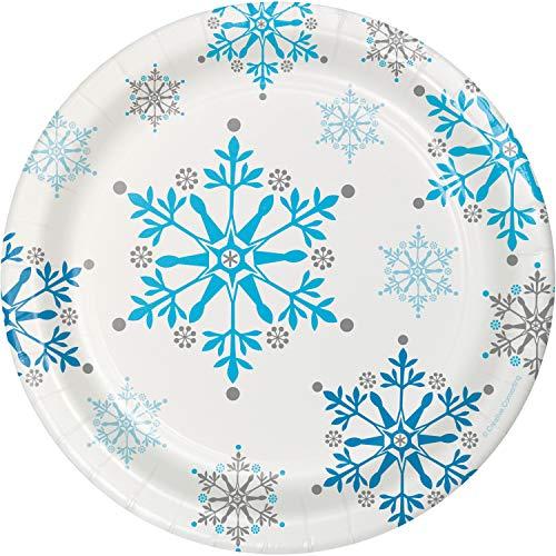 Creative Converting 8 Count Sturdy Style Paper Dessert Plates, 7, Snowflake Swirls -