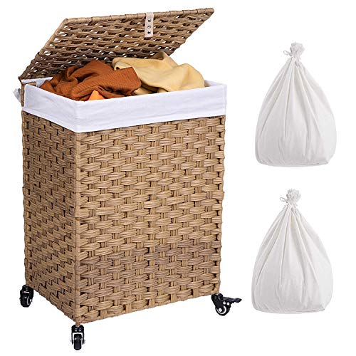 Crehomfy Laundry Hamper with Wheels and 2 Removable Liner Bags Synthetic Rattan Wicker Handwoven Laundry Basket with Lid and Handle Foldable Dirty Clothes Hamper for Laundry Room Bathroom Natural