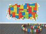 Red Parrot Graphics Adhesivo decorativo para pared con diseño de ladrillos de colores desmenuzados, 40 cm x 73 cm