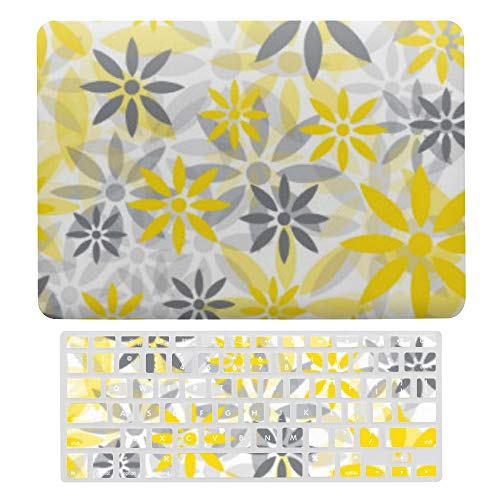 Macbook Air 13 Inch Case(A1369 & A1466, Older Version 2010 2017 Release), Plastic Hard Protective Laptop Case Shell With Keyboard Cover, Yellow Gray Flower Graphic